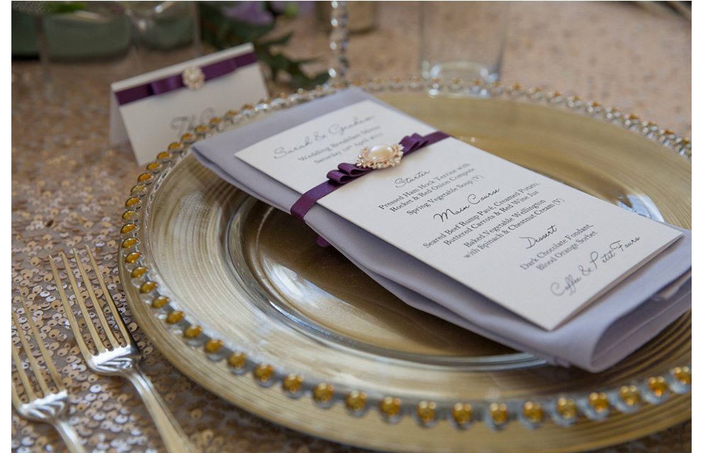 Wedding Menu designed by ternevents